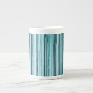 Teal Watercolor Painted Stripes (Teal, Cyan, Blue) Tea Cup
