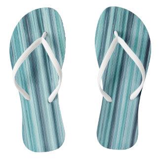 Teal Watercolor Painted Stripes (Teal, Cyan, Blue) Thongs