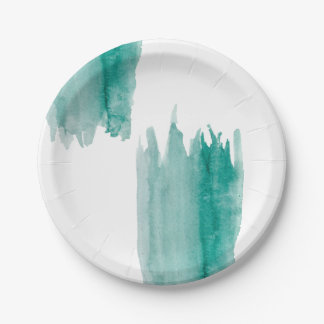 Teal Watercolor Paper Plates