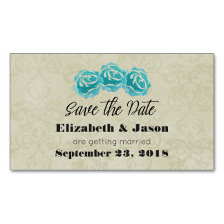 Teal Watercolor Roses on Tan Damask Save The Date Magnetic Business Card