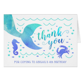 Teal Watercolor Under the Sea Mermaid Thank You Card