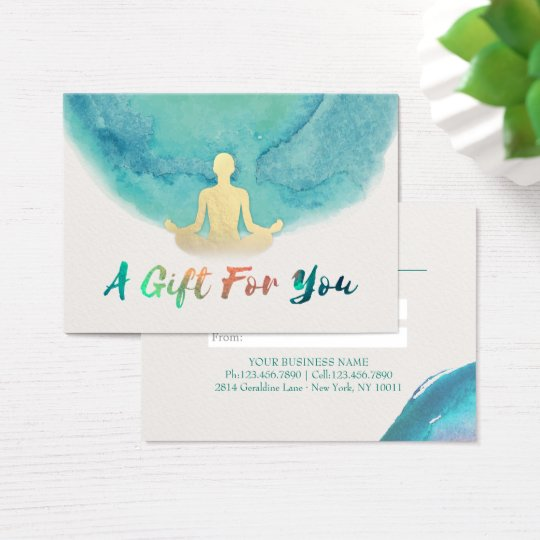 Teal Watercolor YOGA Instructor Gift Certificate