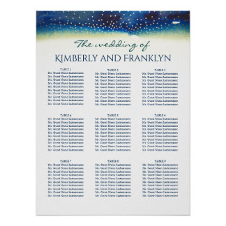 Teal Watercolors Gold Dots Wedding Seating Chart Poster