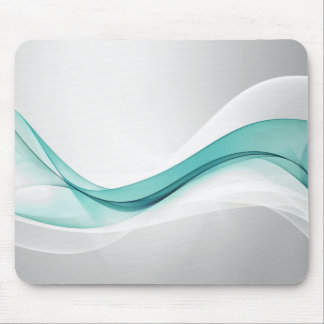 Teal Wave Abstract Mouse Pad