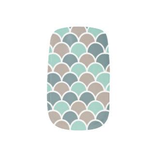 teal waves minx nail art