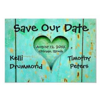 Teal Weathered Wood Heart-3x5Wedding Save the Date Card