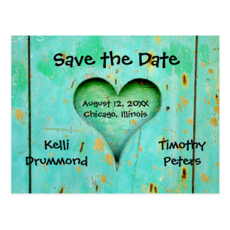 Teal Weathered Wood Heart -Save the Date Post Card