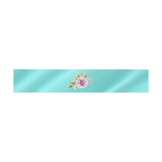 Teal Wedding Belly Band with Rose Invitation Belly Band