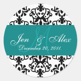 Teal Wedding Monogram Names Date Paisley Seal Round Sticker