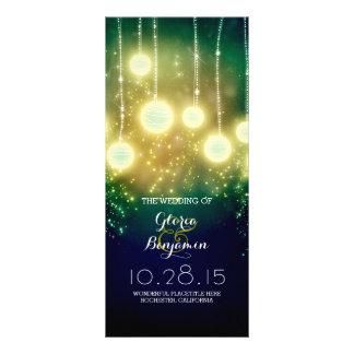 teal wedding programs - romantic lanterns lights customised rack card