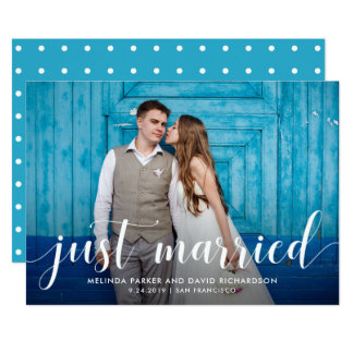 Teal Whimsy | Just Married Photo Announcement