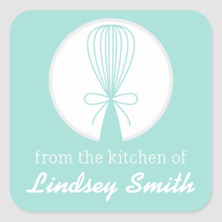 Teal Whisk Silhouette Kitchen Labels Square Sticker