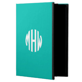 Teal White 3 Initials in a Circle Monogram