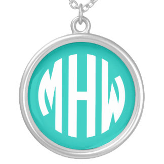 Teal White 3 Initials in a Circle Monogram Necklaces
