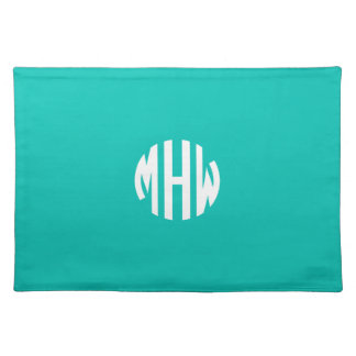 Teal White 3 Initials in a Circle Monogram Cloth Placemat