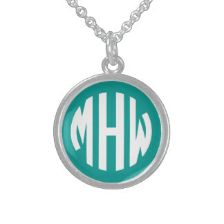 Teal White 3 Initials in a Circle Monogram Round Pendant Necklace