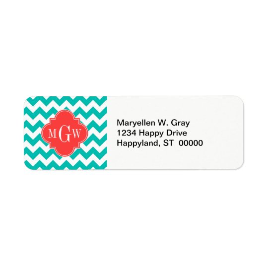 Teal White Chevron Coral Quatrefoil 3 Monogram Return Address Label