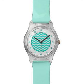 Teal White Chevron Wristwatch