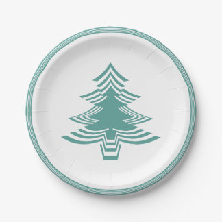 Teal/White Christmas Tree Font Geometric Pattern Paper Plate