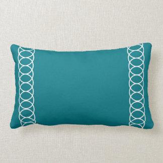 Teal & White Circle Trellis Lumbar Cushion