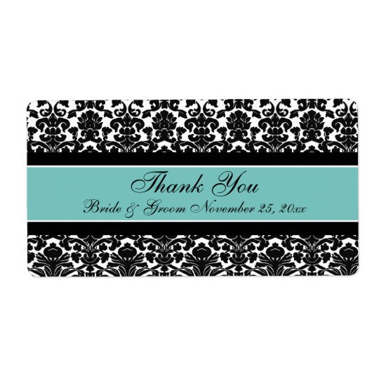 Teal White Damask Wedding Labels