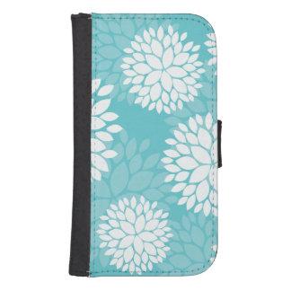 Teal White Floral Pattern Samsung S4 Wallet Case