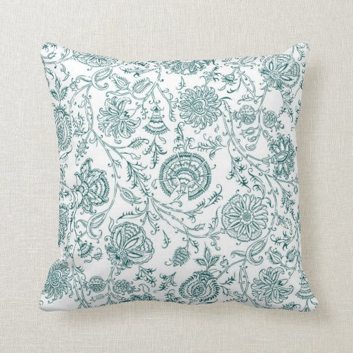 Teal & White Flower Pattern Throw Pillows