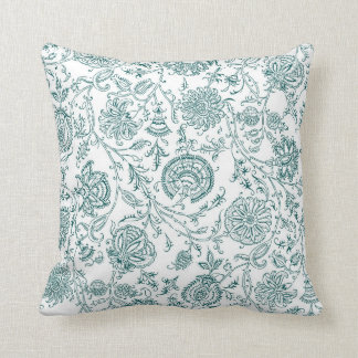 Teal & White Flower Pattern Throw Pillow