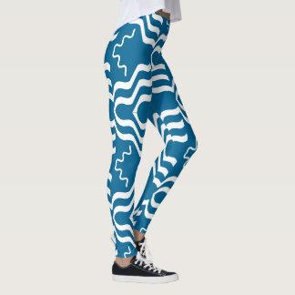 Teal White geometric Pattern 4Lexa Leggings