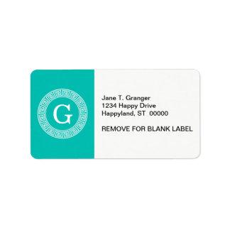 Teal White Greek Key Round Frame Initial Monogram Address Label