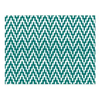 Teal White Ikat Chevron Zig Zag Stripes Pattern Postcard