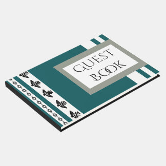 Teal White Indian Thunderbird Stripes Guest Book
