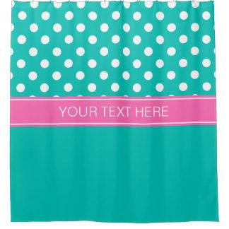 Teal White LG Dot Hot Pink CB Name Monogram Shower Curtain