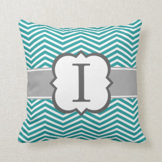 Teal White Monogram Letter I Chevron Throw Pillow
