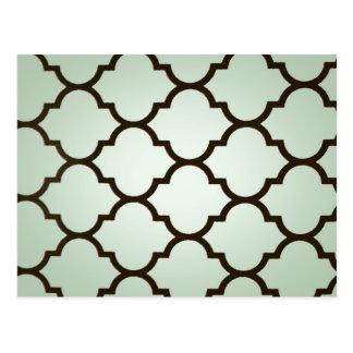 teal white Moroccan Lattice Repeatable Pattern Postcard