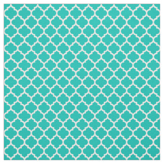 Teal, White Moroccan Quatrefoil Pattern #5 Sz3 Fabric