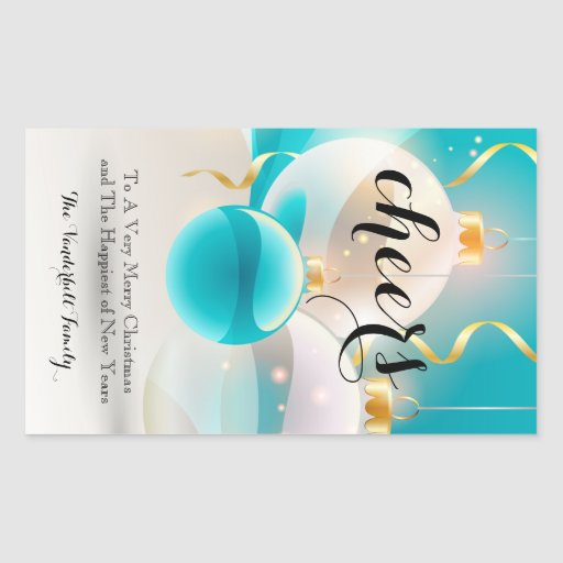 Teal White Ornament Christmas Wine Bottle Label Rectangle Sticker