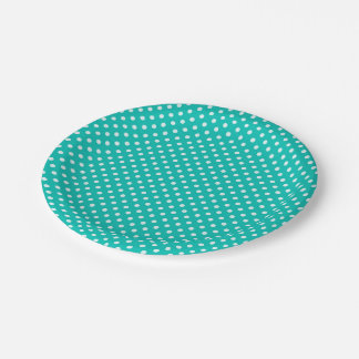 Teal White Polka Dots Pattern 7 Inch Paper Plate