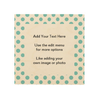 Teal White Polka Dots Pattern Wood Canvases