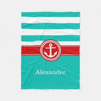 Teal White Red Stripe Anchor CB Monogram Fleece Blanket