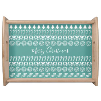 Teal/White Rows Merry Christmas Font Art Pattern Serving Tray