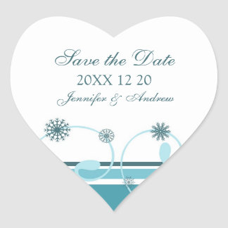 Teal White Save the Date Winter Wedding Stickers