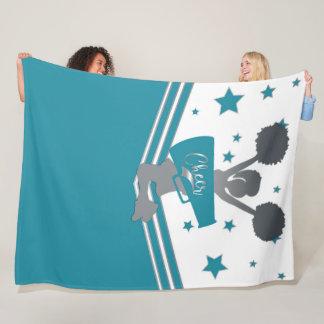 Teal White Silver Stars Cheer Cheer-leading Girls Fleece Blanket