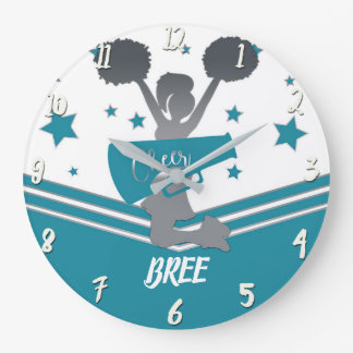Teal White Silver Stars Cheer Cheer-leading Girls Large Clock