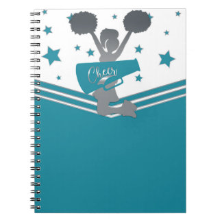 Teal White Silver Stars Cheer Cheer-leading Notebook