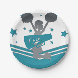 Teal White Silver Stars Cheer Cheer-leading Party Paper Plate