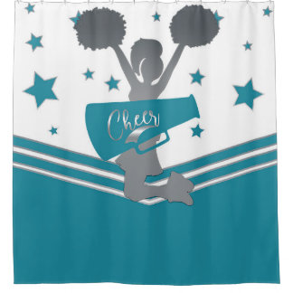 Teal White Silver Stars Cheer Cheer-leading Shower Curtain
