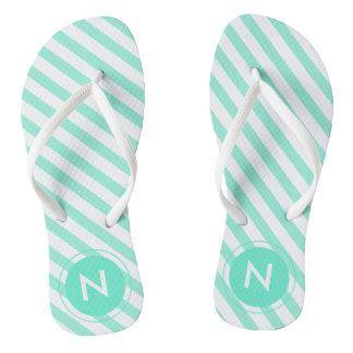 Teal & white striped Monogrammed Flip flops