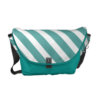 Teal White Stripes Courier Bag
