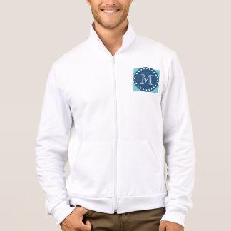 Teal White Stripes Pattern, Navy Blue Monogram Jacket